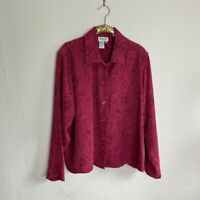 Coldwater Creek Womens Shirt Top Blouse Button Down Pink Floral Size 1X