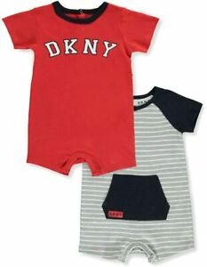 DKNY Baby Boys Red Grey Black 2pc Set LOGO Rompers Bodysuit Playsuit 3 6 9 12 18