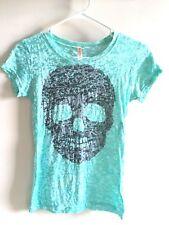 Sweet N kool Outfitters Aqua Graphic Tee Black Skull Sheer Size S
