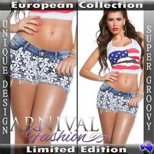 WOMEN SEXY SHORT JEANS ladies DENIM HOT PANTS LACY SHORTS TROUSERS AU CELEB S L