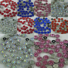 round flower loose 7mm glass crystal rhinestones silver cup bottom sew or glue