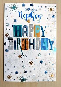 Nephew Happy Birthday Card - Script Male Mens Boys - SIMON ELVIN