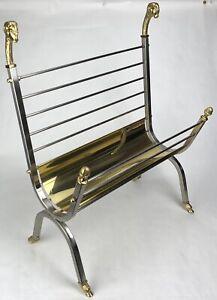 Vintage Italian Brass Ram's Head & Steel Magazine Rack Maison Jansen Style