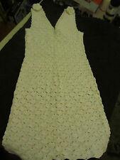 """Short White Cotton V Neck Crochet Dress in Size 8 - 10 - Stretchy - 34-36"""" Chest"""