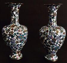 "Set Vintage 6"" Tall Cloisonné Copper Enamel Vases Intricate Pattern (1630)."