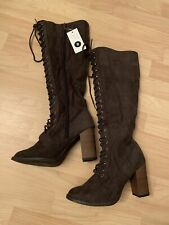 New ANDEAWY Women's Lace-Up Knee-High Brown Boots Long Zip-Up Ladies Shoes 9 Sz
