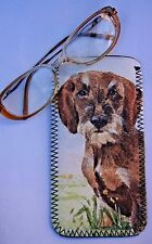 DACHSHUND WIRE HAIRED DOG NEOPRENE GLASS CASE POUCH  SANDRA COEN ARTIST PRINT