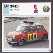 1967 Morris Mini Cooper S British Car Photo Spec Sheet Stat French Atlas Card