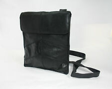 Genuine Leather Shoulder/Pouch Bag BLACK Fabretti 61603