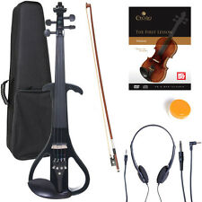 NEW 4/4 Ebony Electric Violin w/Pickup -Black & Style4