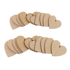 75x Unfinished Wooden Heart Craft Tags with Hole Wedding Decoration 60/80mm