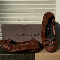 Damen Echt Leder BALLERINA von ANDREA CONTI Slipper Schuhe in Cognac Braun Gr 37