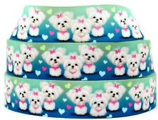 """Grosgrain Ribbon 7/8"""" 1.5"""" Yorkshire Terrier Yorkie Dogs Puppy Pets Printed."""