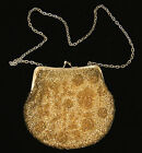 Vintage WALBORG Beaded Gold Purse Evening Shoulder Bag Hand Made In Hong Kong