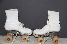 1914 Vintage Chicago Roller Skates, Wooden Wheels includes Metal Case