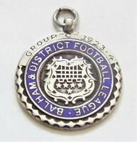 Balham and District Football League Vintage 1924 Sterling Silver Fob Medal