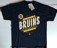 NWT NHL Boston Bruins Majestic Black Eastern Conference S/S Cotton T Shirt XL