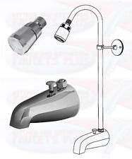 Chrome BathTub Diverter Spout  Add-A-Shower Kit With Shower Riser & Shower Head