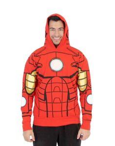 Adult Marvel Comics Movie Superhero I Am Iron Man LED Light Up Sweatshirt Hoodie