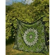 Indian Green Star Mandala Cotton Tapestry Wall Hanging Queen Bohemian Bedspread