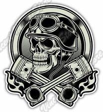 "Vintage Biker Skull Helmet Chopper Gift Car Bumper Vinyl Sticker Decal 4""X5"""