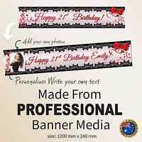 Personalised 21st   Birthday LARGE Canvas Party Banner Red Hot Decorations