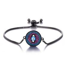 Grey Black Friendship Slim Thin Blue CZ Rhinestones Evil Eye Slider Bracelet