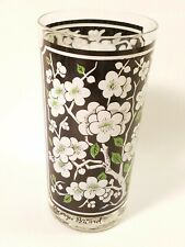 Vintage Georges Briard High Ball Glass White Blossom Green Leaves on Black MCM