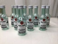 Lot Of 10 empty mini liquor bottle 50mL Plastic Bacardi Superior