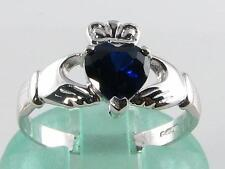 CLASSIC 9CT WHITE GOLD CLADDAGH Sri Lankan BLUE SAPPHIRE HEART RING FREE RESIZE