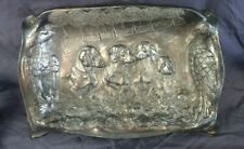 Art Nouveau early 20th  silver plated pewter bowl ? dish  ,dachshund ,eagle ,