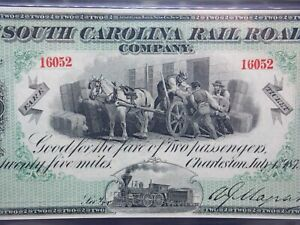 1873 Two 25 Mile Fares CHARLESTON South Carolina RAILROAD Obsolete PMG 66 EPQ MB