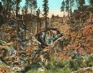 NATURAL BRIDGE YELLOWSTONE PARK  Postcard  Haynes10119 trimmed