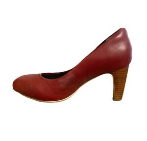 Ziera Tommy Dark Red Court Comfort Shoes Size 7 38 Block Heels Leather Pillow