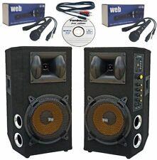 😍 IMPIANTO KARAOKE COMPLETO 2 casse amplificate 800w + 2 microfoni + vanbasco