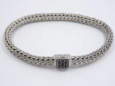 """John Hardy 6mm Chain Sterling Silver Lava Bracelet w/ Black Sapphire ~7.5"""" $850"""