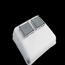New 14K White Gold Finish White Lab Simulated Diamond Square Stud Earring 12 mm