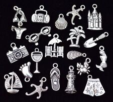 20pc FUN ON THE BEACH Charm Set, size 14mm to 24mm, Antiqued Tibetan Silver
