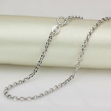 FINE 21.6 INCH Solid 18K White Gold Necklace 2mm Rolo Link Chain Necklace Au750