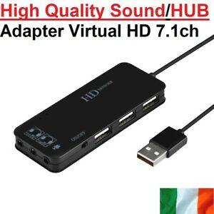 USB Splitter Sound HUB Adapter Virtual HD 7.1 Sound Card Headset Microphone