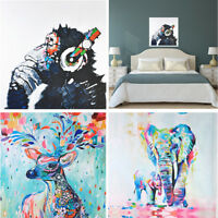 Modern Wall Decor Hand-painted Art Oil Painting Abstract Elephant Deer on Canvas