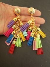 Bright Multicolore Nappa clip-on Dichiarazione Orecchini-UK Venditore