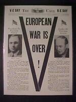 VINTAGE NEWSPAPER HEADLINE~WORLD WAR 2 EISENHOWER TRUMAN VICTORY NAZIS WWII 1945