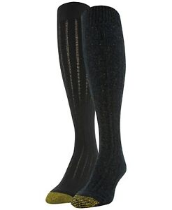 Gold Toe 2-Pack Sparkle Cable Knee Socks Women's One Size Black Rainbow Black