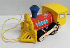 Vintage 1964 Fisher Price Toot-Toot String Pull Train Engine Blue Smoke Stack