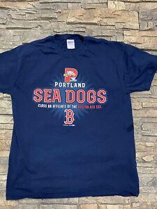 Portland Sea Dogs Red Sox T Shirt Sz L Blue