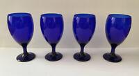 COBALT Blue Teardrop Libbey Wine Glasses Goblets Set Of 4