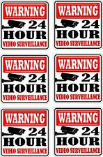 LOT OF 6 WARNING SECURITY  DECAL  / STICKER 24 HOUR VIDEO SURVEILLANCE SIGN