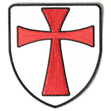 Embroidered Knights Templar Shield Red Cross Sew or Iron on Patch Biker Patch