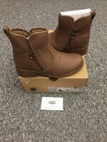 BRAND NEW 'UGG' BROWN LEATHER ZIP ANKLE BOOTS. SIZE UK 4.5/EU 37/USA 6. BOXED.